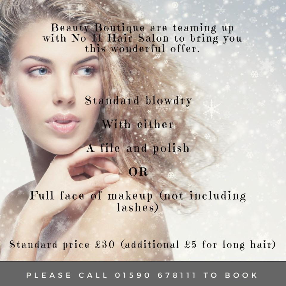 Christmas 2017 special party offer No 11 The Salon and Beauty Boutique